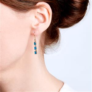 Neon Apatite Earrings with Diamond in 9K Gold 1.32cts