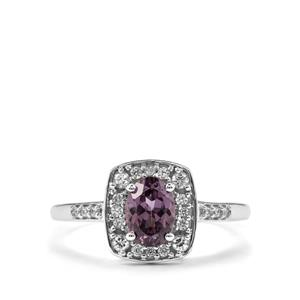 Mahenge Purple Spinel Ring with White Zircon in 9K White Gold 1.20cts