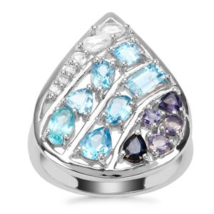 2.69ct Oceanic Sterling Silver Shades Ring
