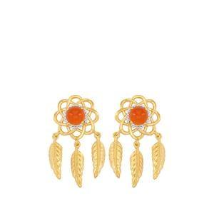 Carnelian Earrings in Gold Plated Sterling Silver 1.49cts