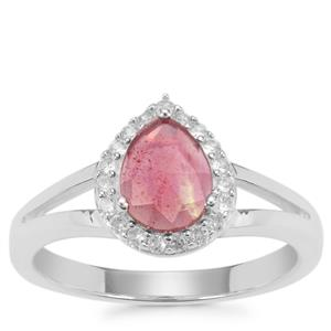 Rose Cut Malagasy Ruby Ring with White Zircon in Sterling Silver 1.33cts