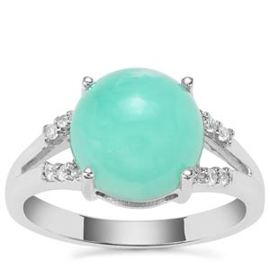 Prase Green Opal Ring with White Zircon in Sterling Silver 3.57cts