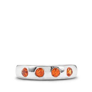 0.66ct Mandarin Garnet Sterling Silver Ring