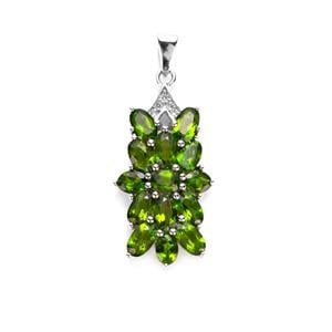 Chrome Diopside & White Topaz Sterling Silver Pendant ATGW 3.60cts