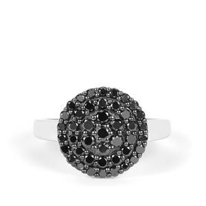 1ct Black Diamond Sterling Silver Ring