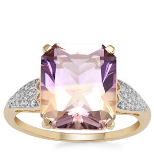 Anahi Ametrine Ring with White Zircon in 9K Gold 5.19cts