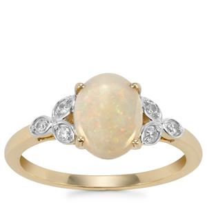 Coober Pedy Opal Ring with White Zircon in 9K Gold 1.21cts