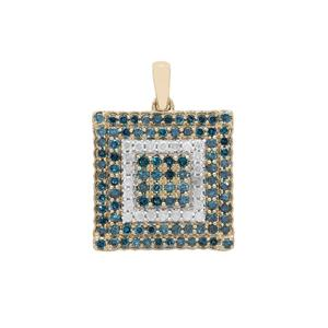 1ct Blue & White Diamond 9K Gold Pendant