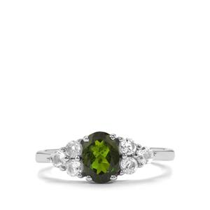 Chrome Diopside & White Topaz Sterling Silver Ring ATGW 1.39cts
