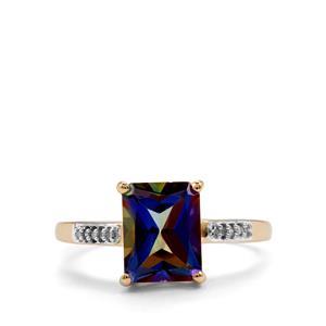 Mystic Blue Topaz & Diamond 9K Gold Ring ATGW 2.86cts