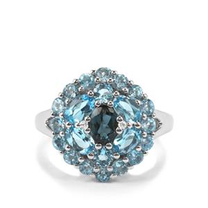 Marambaia London Blue, Swiss Blue, Sky Blue Topaz Ring with White Zircon in Platinum Plated Sterling Silver 3.25cts