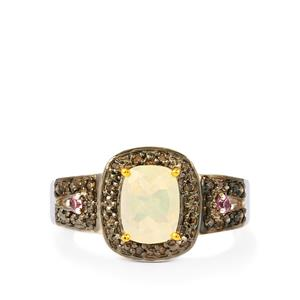 Ethiopian Opal, Pink Sapphire Ring with Champagne Diamond in Sterling Silver 1cts