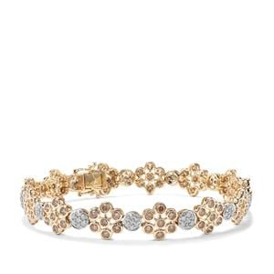 Champagne Diamond Bracelet with White Diamond in 9K Gold 5ct