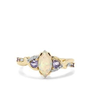 Ethiopian Opal, Tanzanite & White Zircon 9K Gold Ring ATGW 0.88ct