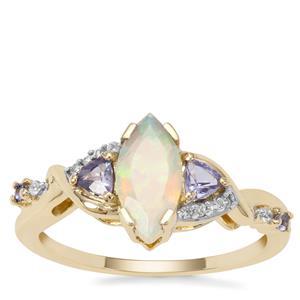 Ethiopian Opal, Tanzanite Ring with White Zircon in 9K Gold 0.88ct