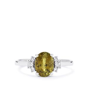 Cuprian Tourmaline Ring with Diamond in 18k White Gold 1.34cts