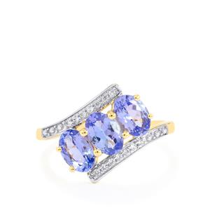 AA Tanzanite Ring with White Zircon in 10k Gold 1.96cts