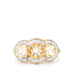 Alto Ligonha Morganite & White Zircon 9K Gold Ring ATGW 3.14cts