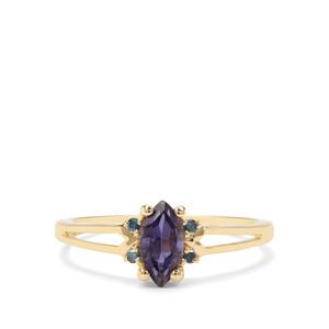 Bengal Iolite & Blue Diamond 9K Gold Ring ATGW 0.58cts