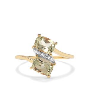 Csarite® & Diamond 9K Gold Ring ATGW 2.03cts