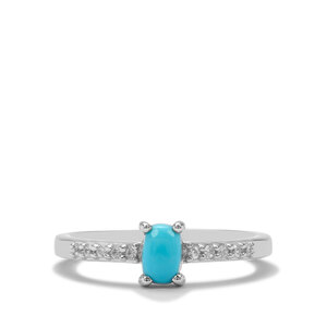 Sleeping Beauty Turquoise & White Zircon Sterling Silver Ring ATGW 0.58cts