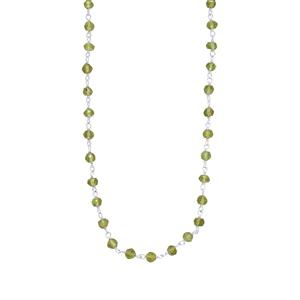 Changbai Peridot Bead Necklace in Sterling Silver 22cts