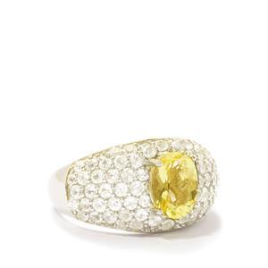 Citron Feldspar & White Zircon Sterling Silver Ring ATGW 3.47cts