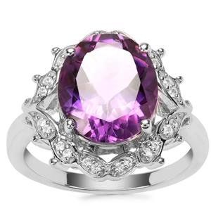 Zambian Amethyst Ring with White Zircon in Sterling Silver 4.22cts