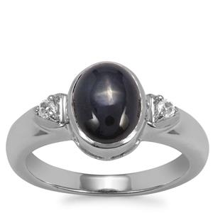 Madagascan Blue Star Sapphire Ring with White Topaz in Sterling Silver 3.10cts