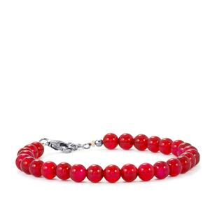 Red Onyx Bead Bracelet in Sterling Silver 42cts