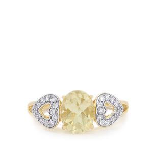 Serenite & White Zircon 9K Gold Ring ATGW 2.25cts