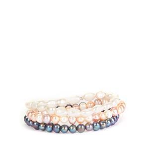 Kaori Cultured Pearl Sterling Silver Set of 3 Elastic Bracelets