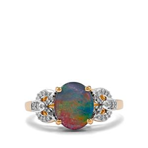Crystal Opal on Ironstone Ring with Diamond in 18K Gold