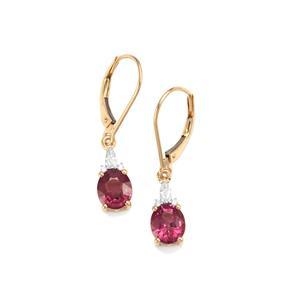 Malawi Garnet Earrings with Diamond in 18K Gold 2.87cts
