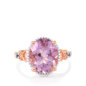 Rose De France Amethyst Ring with White Topaz in Two Tone Gold Plated Sterling Silver 4.53cts
