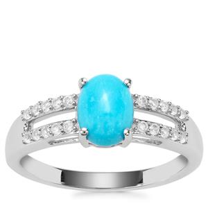 Sleeping Beauty Turquoise Ring with White Zircon in Sterling Silver 1.26cts