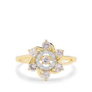 Leuco Sapphire & White Zircon 9K Gold Ring ATGW 0.74ct