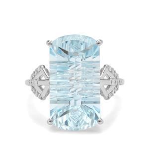 Lehrer Matrix Cut Sky Blue Topaz & Diamond 9K White Gold Ring ATGW 14.65cts