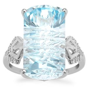 Lehrer Matrix Cut Sky Blue Topaz Ring with Diamond in 9K White Gold 14.65cts