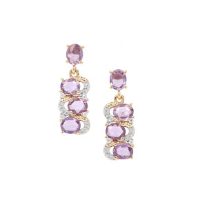 Rose Cut Natural Purple Sapphire & White Zircon 9K Gold Earrings ATGW 2.66cts
