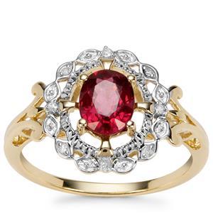 Savanna Pink Garnet Ring with Diamond in 9K Gold 1.22cts