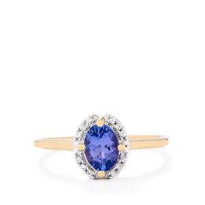 AA Tanzanite Ring with White Zircon in 10K Gold 0.77cts