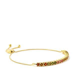 Rainbow Tourmaline Slider Bracelet in Gold Vermeil 1.95cts