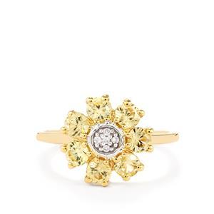 1.80ct Ceylon & White Zircon 9K Gold Ring