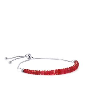 Malagasy Ruby Slider Bead Bracelet  in Sterling Silver 13cts (F)