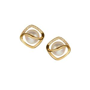 Kaori Cultured Pearl Earrings with White Topaz in Gold Tone Sterling Silver