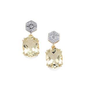 Serenite & Diamond 9K Gold Earrings ATGW 4.78cts