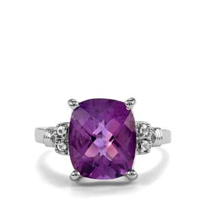 Zambian Amethyst Ring with White Topaz in Sterling Silver 4.42cts