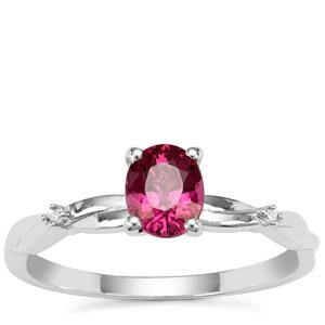 Comeria Garnet Ring with Diamond in 9K White Gold 1cts