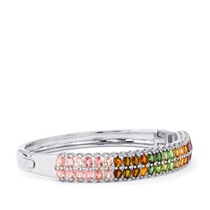Rainbow Tourmaline Bangle with White Zircon in Sterling Silver 7.46cts